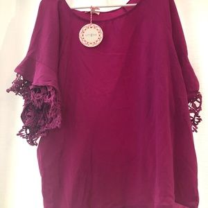 NWT Fuchsia umber top with lace crochet detail
